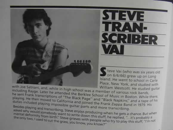 The Frank Zappa Guitar Book - Steve Vai Transcriber