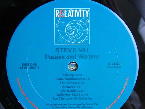 Steve Vai - Passion and Warfare - Record Label