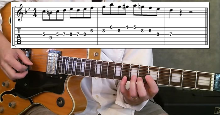 Jazz II V I Guitar Lick in Bb