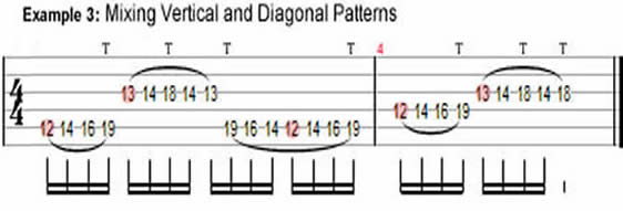Guitar Tapping: Vertical and Diagonal Patterns