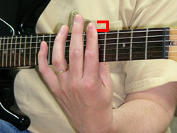 Barre Chord Finger Side on Guitar Overlap