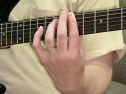 Barre Chord Finger Side on Guitar